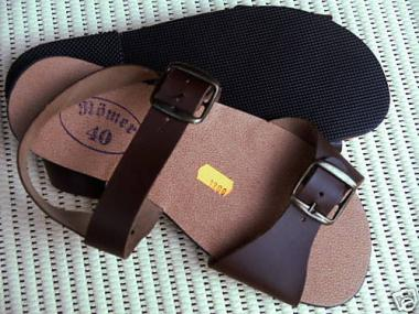 Römer  Sandalette Römersandalen Jesuslatschen  DDR Echtes Leder Farbe Hellbraun