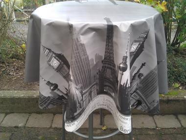 Städte- Muster-Schmutzabweisende Runde und Rechteckige  Wachstuch Tischdecke 130 oder 140cm