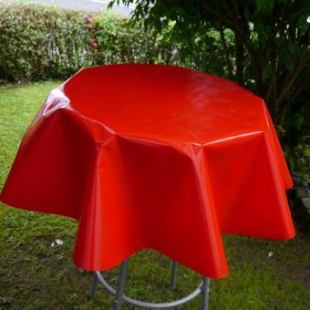 Rote Lacktischdecke Rechteckige 160/130 cm und Runde-140 oder 130cm-Tischbelag