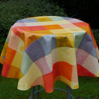 Schmutzabweisende Tischdecke-Wachstuch.Tischbelag  Bunte-KariertRund 130 cm-Rechteckig 140 cm/100 cm Rollenware