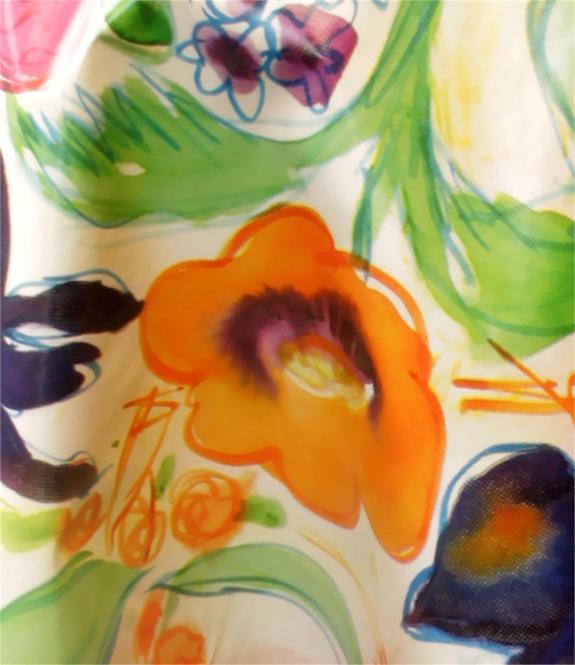 Runde und Rechteckige Schmutzabweisende  Wachstuch Tischdecke 130 oder 140 cm Bunte Blumen